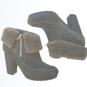 HUNTER Gray Suede Shearling Lined Ankle Boots